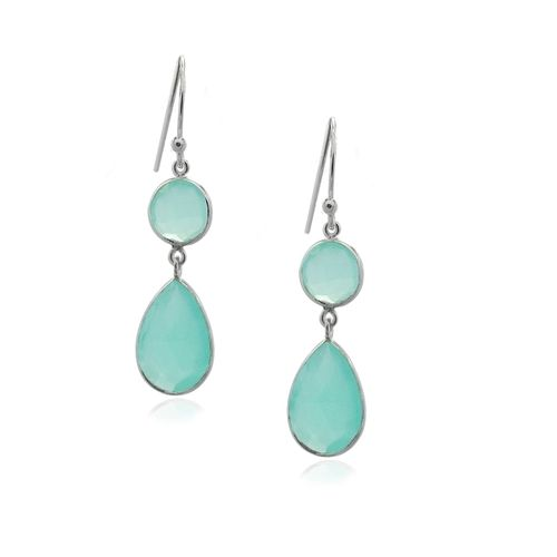 Chalcedony Aqua Hanging earring model E5-019-0002