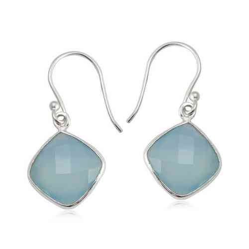 Chalcedony aqua Hanging earring model E7-006