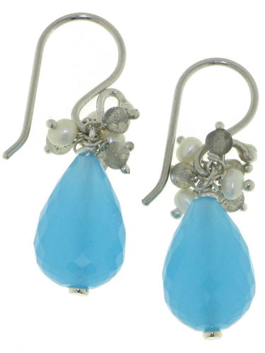 Chalcedony aqua Hanging earring model E6-008