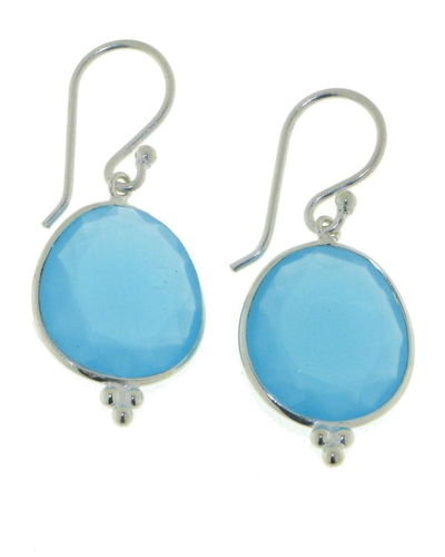 Chalcedony aqua Hanging earring model E6-006