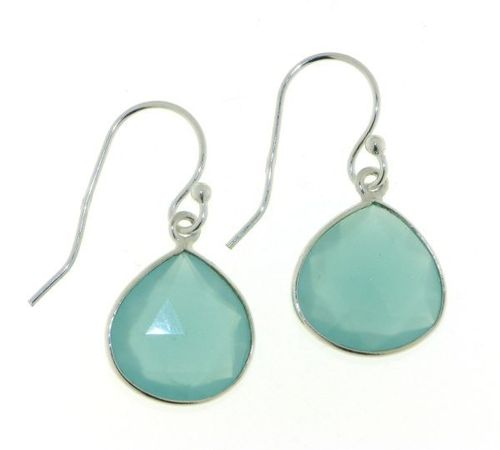 Chalcedony aqua Hanging Earring model E5-023