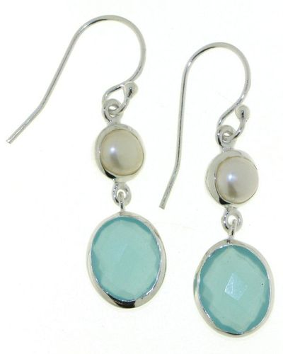 Chelcedony aqua Hanging Earring model E5-057