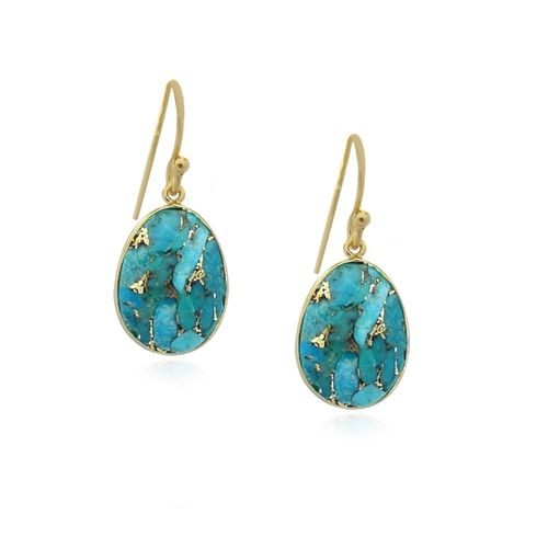 Copper Turquoise Hanging earring E5g-031